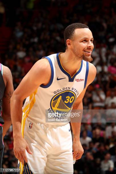 Stephen Curry of the Golden State Warriors smiles during a game against the  Miami Heat on 2ef1cb2f0