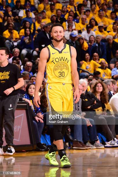 Stephen Curry of the Golden State Warriors smiles during a game against the LA Clippers during Game Two of Round One of the 2019 NBA Playoffs on...