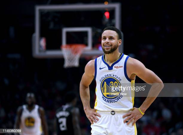 Stephen Curry of the Golden State Warriors smiles in a 129110 win over the LA Clippers during Game Six of Round One of the 2019 NBA Playoffs at...