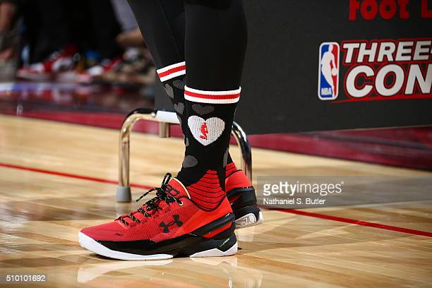 Stephen Curry of the Golden State Warriors sneakers during the Foot Locker ThreePoint Contest during State Farm AllStar Saturday Night as part of the...