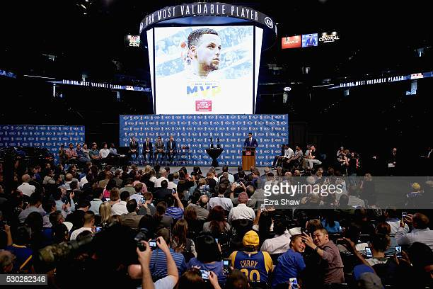 Stephen Curry of the Golden State Warriors speaks at a press conference where he was awarded the NBA Most Valuable Player at ORACLE Arena on May 10...