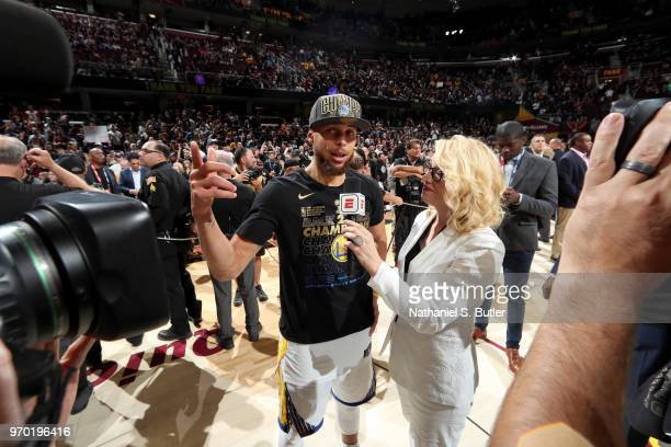Stephen Curry of the Golden State Warriors speaks to Doris Burke after Game Four of the 2018 NBA Finals against the Cleveland Cavaliers on June 8...