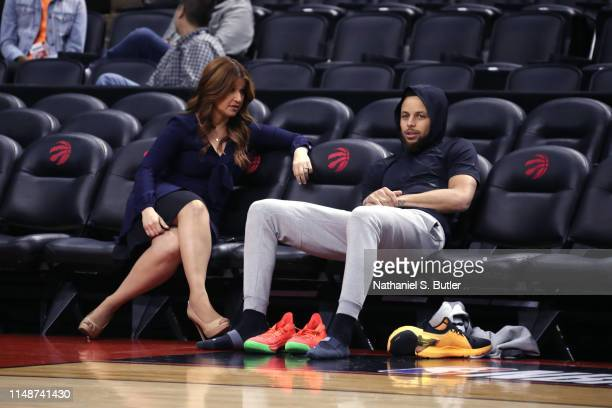 Stephen Curry of the Golden State Warriors speaks to Rachel Nichols during practice and media availability as part of the 2019 NBA Finals on June 9...