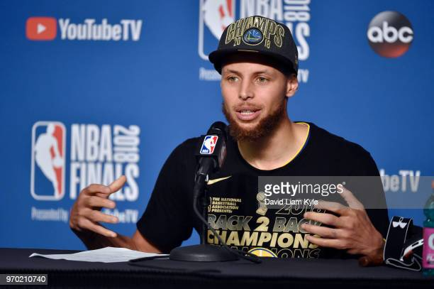 OH Stephen Curry of the Golden State Warriors speaks to the media after defeating the Cleveland Cavaliers in Game Four of the 2018 NBA Finals on June...