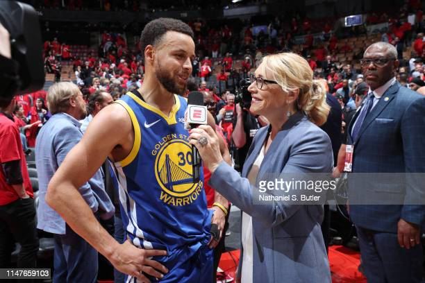 Stephen Curry of the Golden State Warriors speaks with Doris Burke after defeating the Toronto Raptors in Game Two of the NBA Finals on June 2 2019...