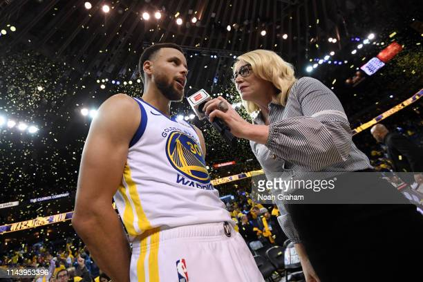 Stephen Curry of the Golden State Warriors speaks with ESPN Analyst Doris Burke after winning Game One of the 2019 Western Conference Finals of the...