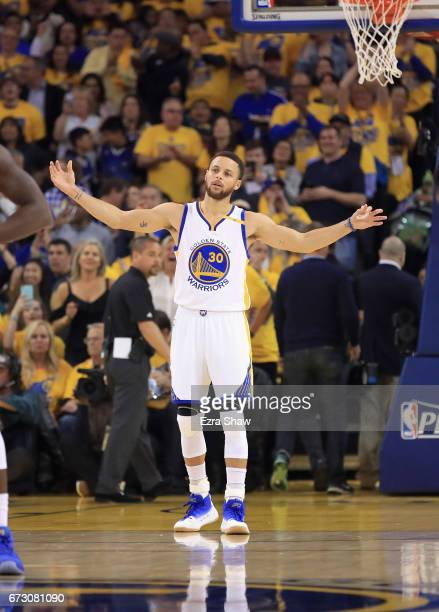 Stephen Curry of the Golden State Warriors stands on teh court before their game against the Portland Trail Blazers in Game Two of the Western...