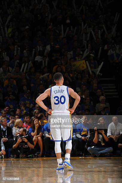 Stephen Curry of the Golden State Warriors stands on the court during the game against the Memphis Grizzlies on April 13 2016 at Oracle Arena in...