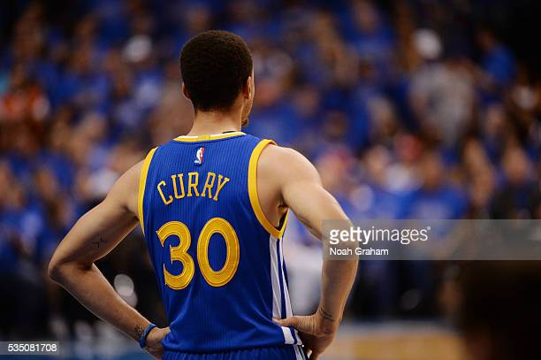 Stephen Curry of the Golden State Warriors stands on the court during the game against the Oklahoma City Thunder in Game Six of the Western...