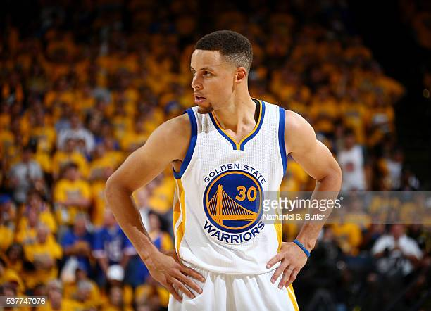 Stephen Curry of the Golden State Warriors stands on the court during the game against the Cleveland Cavaliers in Game One of the 2016 NBA Finals on...