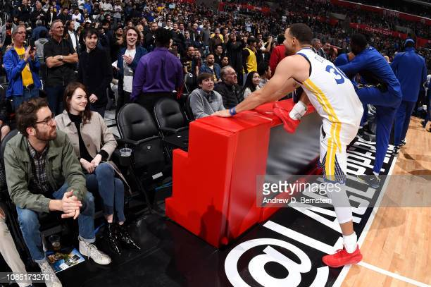 Stephen Curry of the Golden State Warriors stretches during the game against the LA Clippers on January 18 2019 at STAPLES Center in Los Angeles...