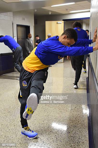 Stephen Curry of the Golden State Warriors stretches in the hallway before Game Four of the Western Conference Finals against the Oklahoma City...