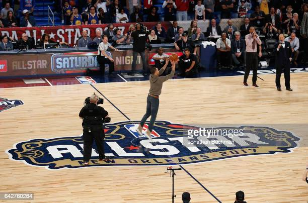 Stephen Curry of the Golden State Warriors takes a halfcourt shot after the 2017 JBL ThreePoint Contest at Smoothie King Center on February 18 2017...