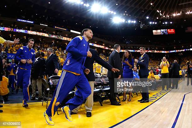 Stephen Curry of the Golden State Warriors takes the court for game two against the Houston Rockets of the Western Conference Finals of the 2015 NBA...