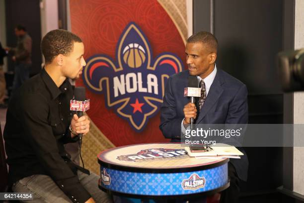 Stephen Curry of the Golden State Warriors talks to NBA TNT Analyst David Aldridge during the 2017 AllStar Media Circuit at the Ritz Carlton on...