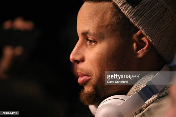 Stephen Curry of the Golden State Warriors talks to the media after the game against the Toronto Raptors on December 5 2015 at Air Canada Centre in...