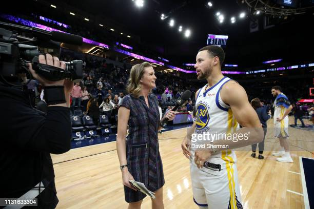 Stephen Curry of the Golden State Warriors talks with media after the game against the Minnesota Timberwolves on March 19 2019 at Target Center in...
