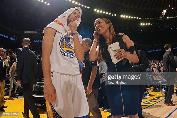 Stephen Curry of the Golden State Warriors talks with reporter Rosalyn GoldOnwude after the game on April 3 2016 at Oracle Arena in Oakland...