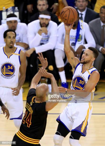 Stephen Curry of the Golden State Warriors throws up a shot against Richard Jefferson of the Cleveland Cavaliers in Game 5 of the 2017 NBA Finals at...