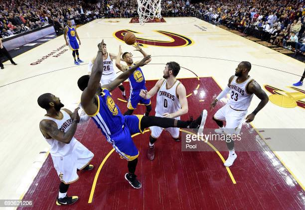 Stephen Curry of the Golden State Warriors tries to control a rebound in the second half against the Cleveland Cavaliers in Game 3 of the 2017 NBA...
