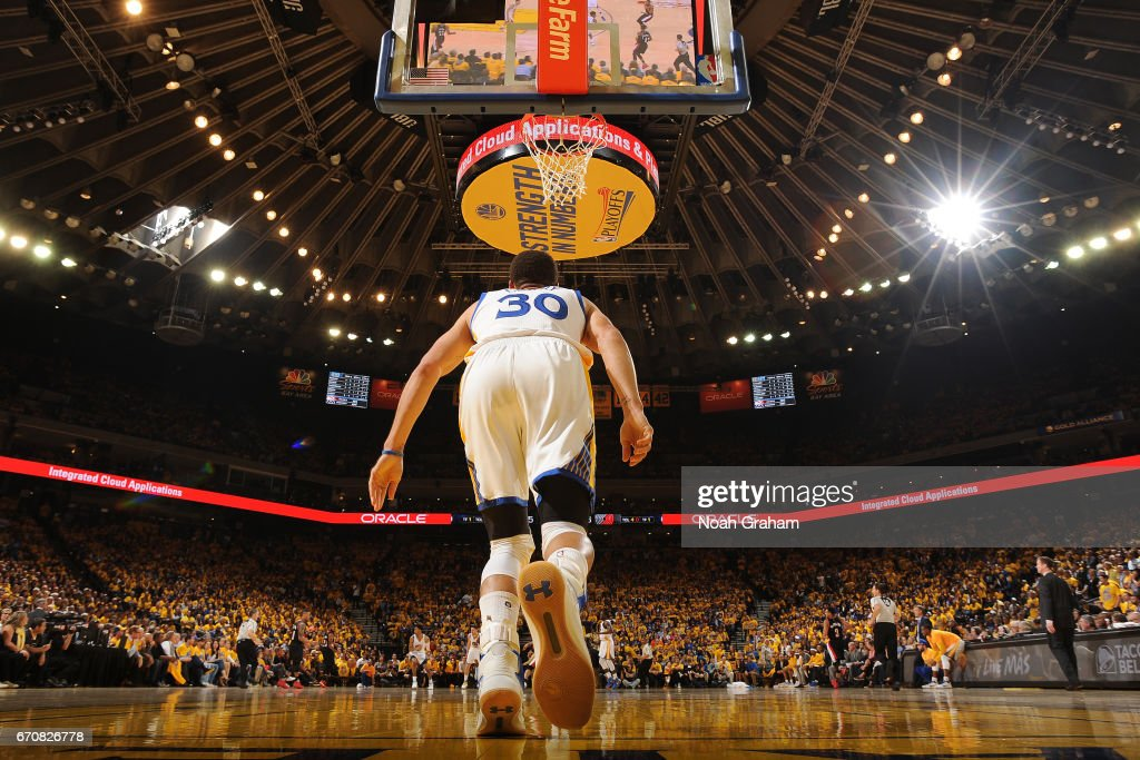 Stephen Curry #30 of the Golden State Warriors turns around and runs up the court against the Portland Trail Blazers during Game Two of the Western Conference Quarterfinals during the 2017 NBA Playoffs on April 19, 2017 at ORACLE Arena in Oakland, California.