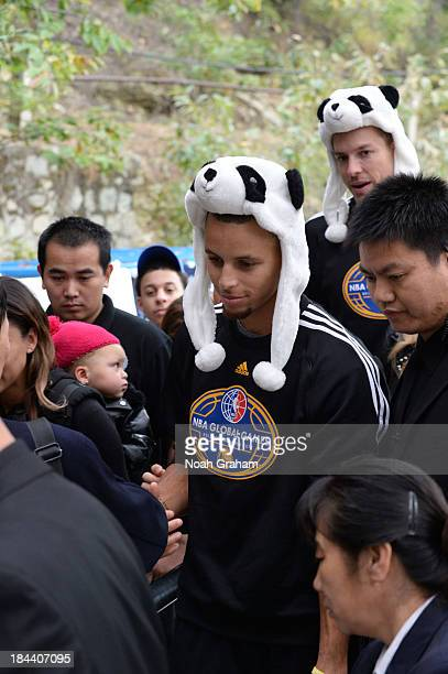 Stephen Curry of the Golden State Warriors visits the Great Wall as part of 2013 Global Games on October 13 2013 at the Great Wall in Beijing China...