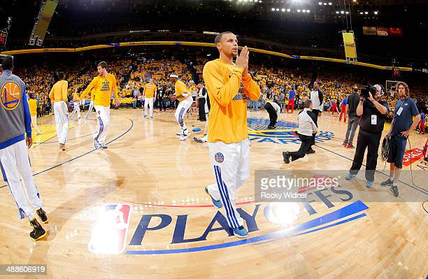 Stephen Curry of the Golden State Warriors warms up against the Los Angeles Clippers in Game Six of the Western Conference Quarterfinals during the...
