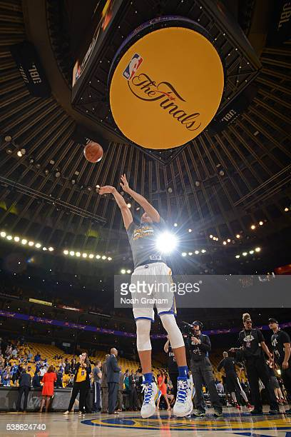 Stephen Curry of the Golden State Warriors warms up before Game Two of the 2016 NBA Finals against the Cleveland Cavaliers on June 5 2016 at ORACLE...