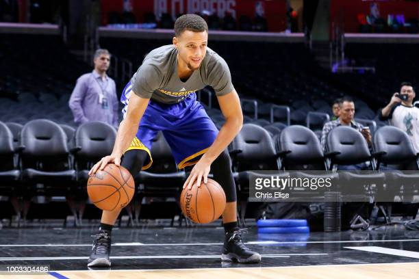 Stephen Curry of the Golden State Warriors warms up before the game against the LA Clippers on November 19 2015 at the STAPLES Center in Los Angeles...