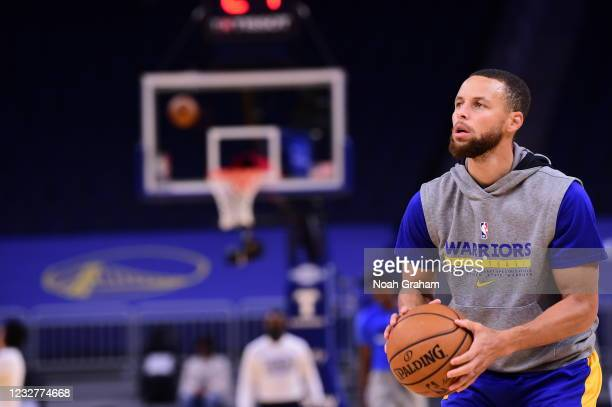 Stephen Curry of the Golden State Warriors warms up before the game against the Oklahoma City Thunder on April 8, 2021 at Chase Center in San...