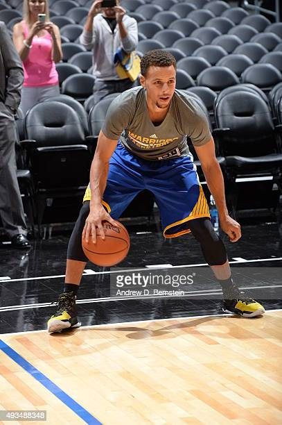 Stephen Curry of the Golden State Warriors warms up before the game against the Los Angeles Clippers on October 20 2015 at STAPLES Center in Los...