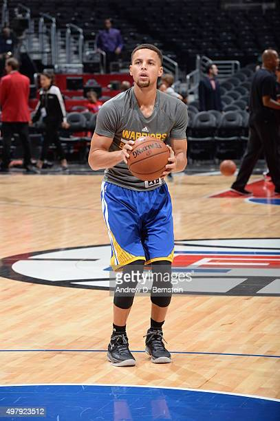 Stephen Curry of the Golden State Warriors warms up before the game against the Los Angeles Clippers on November 19 2015 at STAPLES Center in Los...