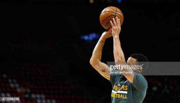 Stephen Curry of the Golden State Warriors warms up before the game against the Portland Trail Blazers during Game Three of the Western Conference...
