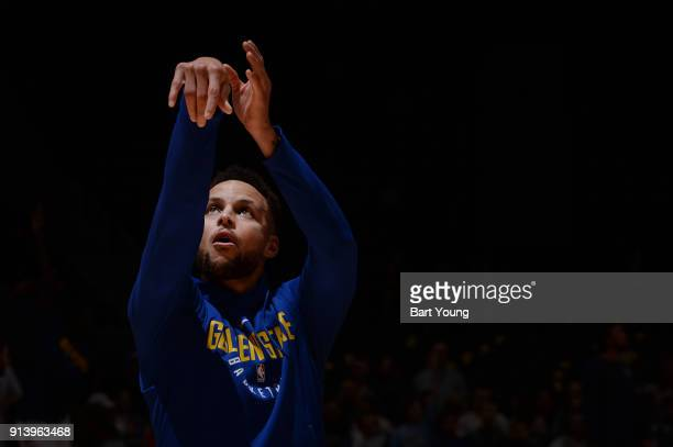 Stephen Curry of the Golden State Warriors warms up before the game against the Denver Nuggets on February 3 2018 at the Pepsi Center in Denver...