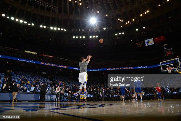Stephen Curry of the Golden State Warriors warms up prior to the game against the Indiana Pacers on January 22 2016 at Oracle Arena in Oakland...