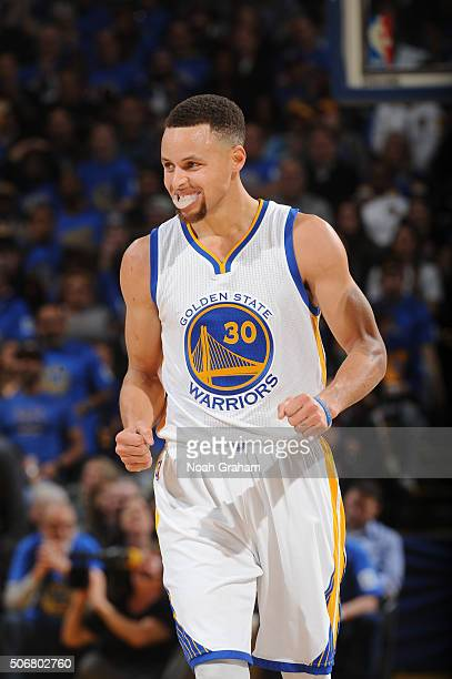 Stephen Curry of the Golden State Warriors while facing the San Antonio Spurs on January 25 2016 at Oracle Arena in Oakland California NOTE TO USER...