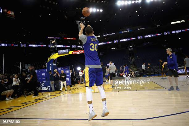 Stephen Curry of the Golden State Warriors works out during the 2018 NBA Finals Media Day at ORACLE Arena on May 30 2018 in Oakland California Game...