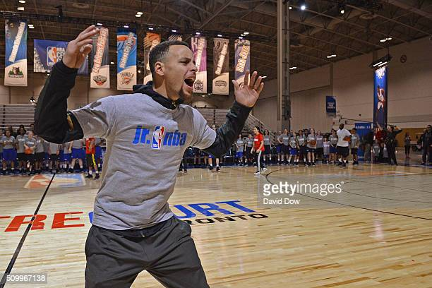 Stephen Curry of the Golden State Warriors works with kids during the Jr NBA Day as part of 2016 AllStar Weekend at NBA Centre Court of the Enercare...