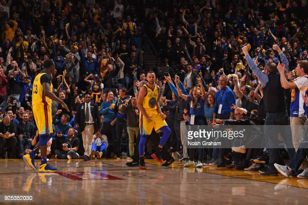 Stephen Curry of the Golden State Warriors yells and celebrates during the game against the Oklahoma City Thunder on February 24 2018 at ORACLE Arena...