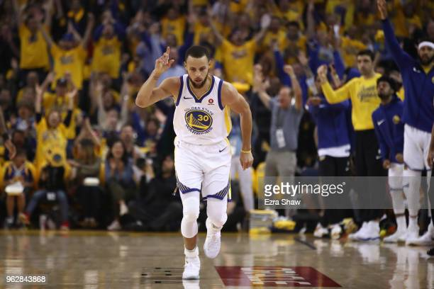 Stephen Curry of the Golden State Warriorsreacts after a threepoint basket against the Houston Rockets during Game Six of the Western Conference...