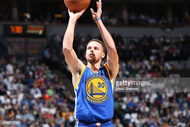 Stephen Curry of the Golden State Warriorss shoots the ball against the Minnesota Timberwolves on March 21 2016 at Target Center in Minneapolis...