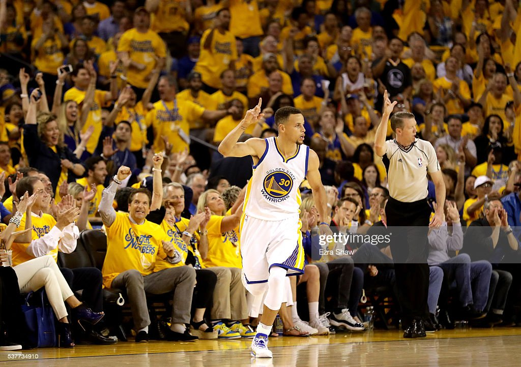 Stephen Curry #30 of the rGolden State Warriors reacts after making a three pointer in the first half against the Cleveland Cavaliers in Game 1 of the 2016 NBA Finals at ORACLE Arena on June 2, 2016 in Oakland, California.