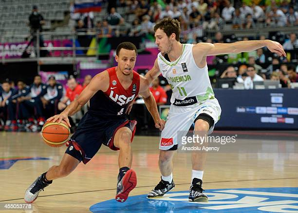 Stephen Curry of the US in action against Goran Dragic of Slovenia during the 2014 FIBA Basketball World Cup quarter final match between Slovenia and...