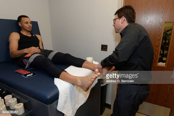 Stephen Curry of the Western Conference AllStar Team gets taped before the NBA AllStar Game as part of the 2017 NBA All Star Weekend on February 19...
