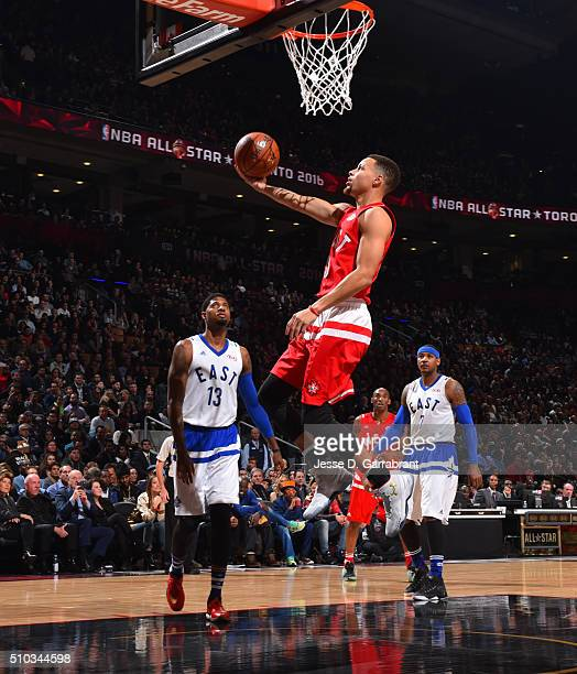 Stephen Curry of the Western Conference AllStars goes up for the layup during the NBA AllStar Game as part of the 2016 NBA All Star Weekend on...