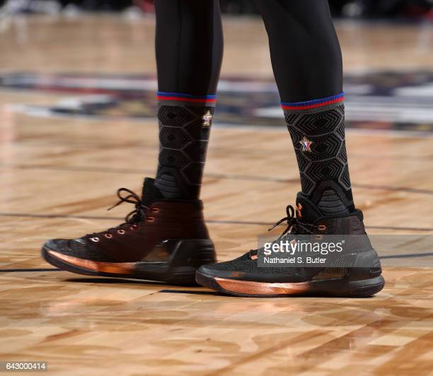 Stephen Curry of the Western Conference AllStars sneakers during the NBA AllStar Game as part of the 2017 NBA All Star Weekend on February 19 2017 at...
