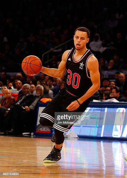 Stephen Curry of the Western Conference in action against the Eastern Conference during the 2015 NBA AllStar Game at Madison Square Garden on...