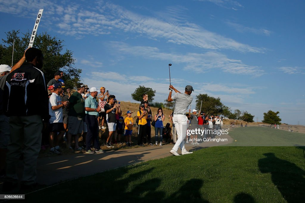 Stephen Curry plays a shot from near the path on the fifteenth hole during round two of the Ellie Mae Classic at TCP Stonebrae on August 4, 2017 in Hayward, California.