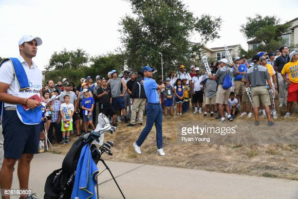 Stephen Curry plays a shot on the 13th hole during the first round of the Webcom Tour Ellie Mae Classic at TPC Stonebrae on August 3 2017 in Hayward...