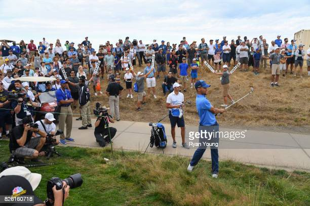 Stephen Curry plays a shot on the tenth hole during the first round of the Webcom Tour Ellie Mae Classic at TPC Stonebrae on August 3 2017 in Hayward...